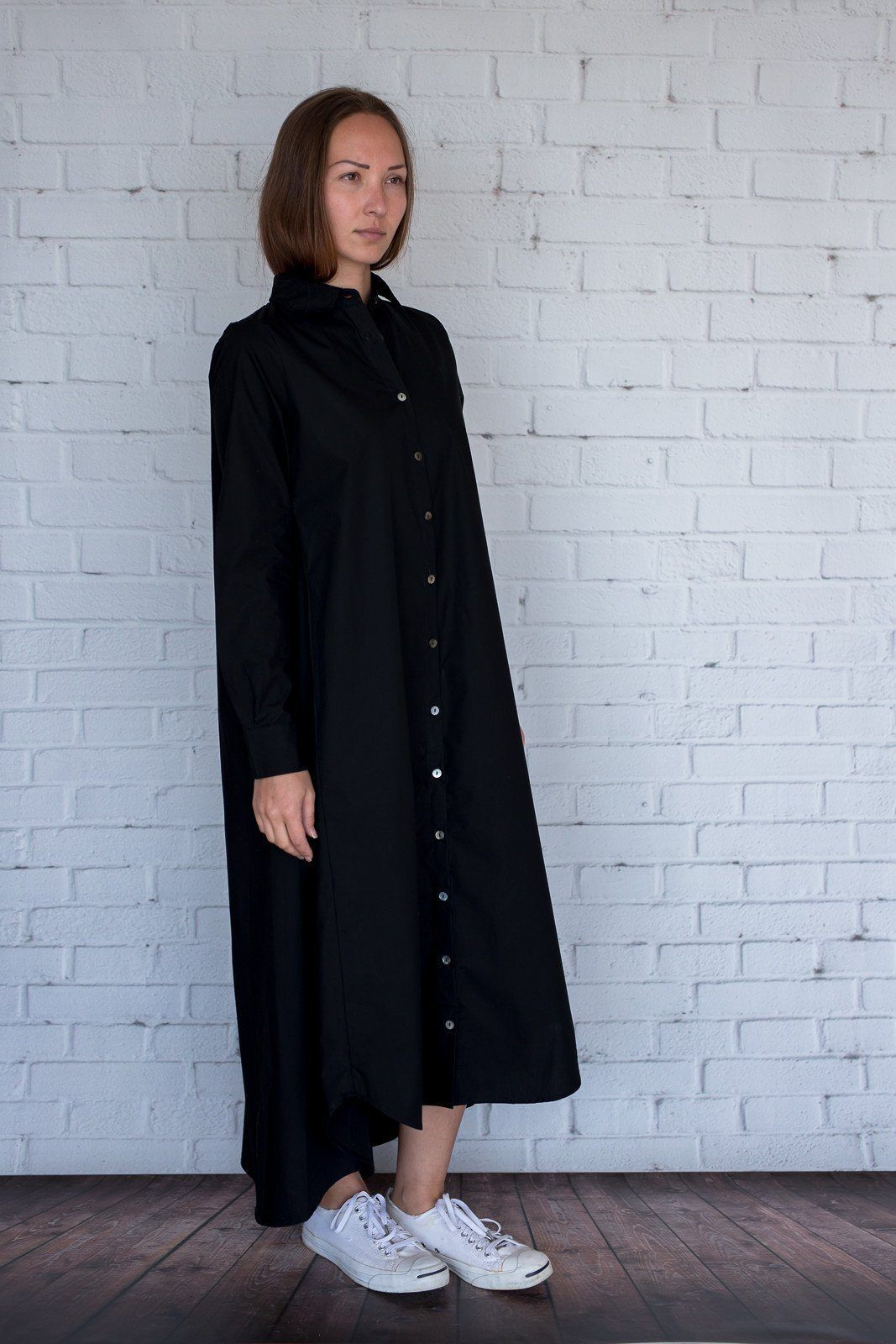 Maaya Long Length - Black Poplin - PROJECT 6, modest fashion