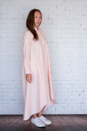 Maaya Long Length - Light Peach Poplin - PROJECT 6, modest fashion