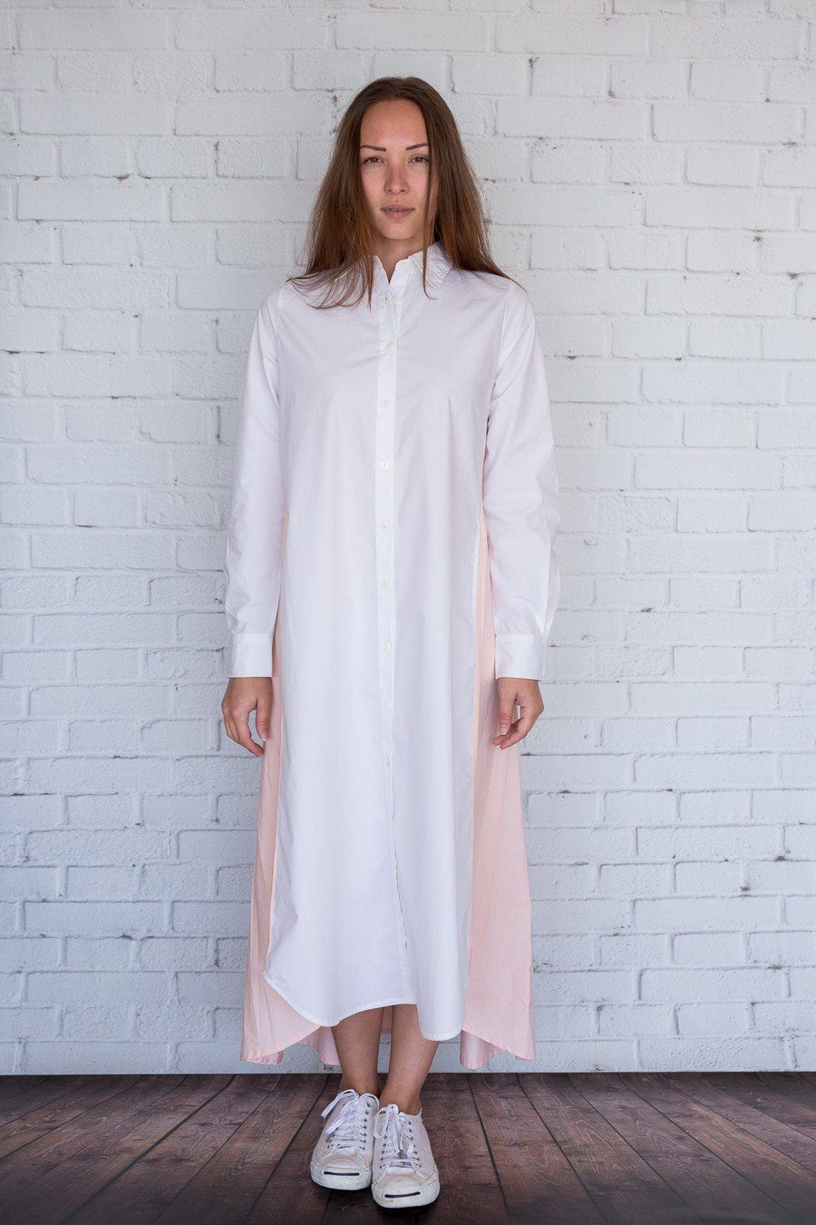 Maaya Long - White/Light Peach Poplin - PROJECT 6, modest fashion