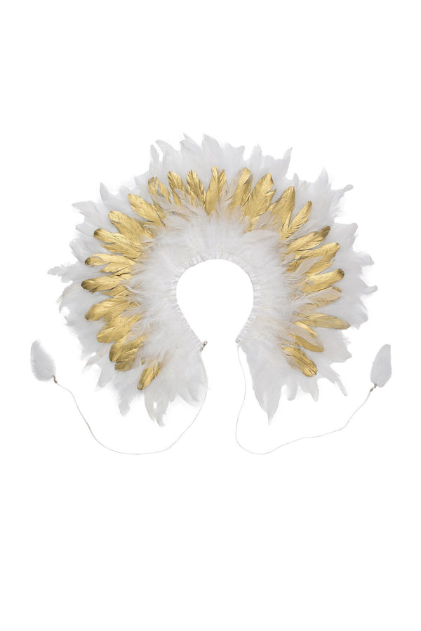 Feather Collar - White/Gold - PROJECT 6, modest fashion