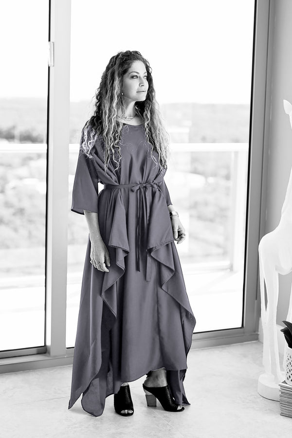 Momo Dress - Charcoal Crepe - PROJECT 6, modest fashion