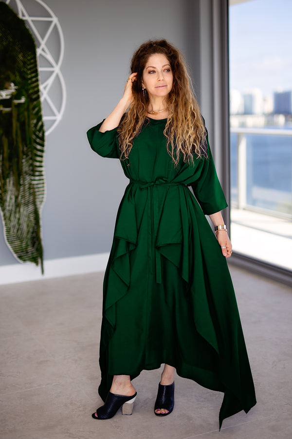 Momo Dress - Hunter Green Crepe - PROJECT 6, modest fashion