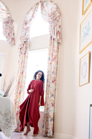 Momo Dress - Cranberry Crepe - PROJECT 6, modest fashion