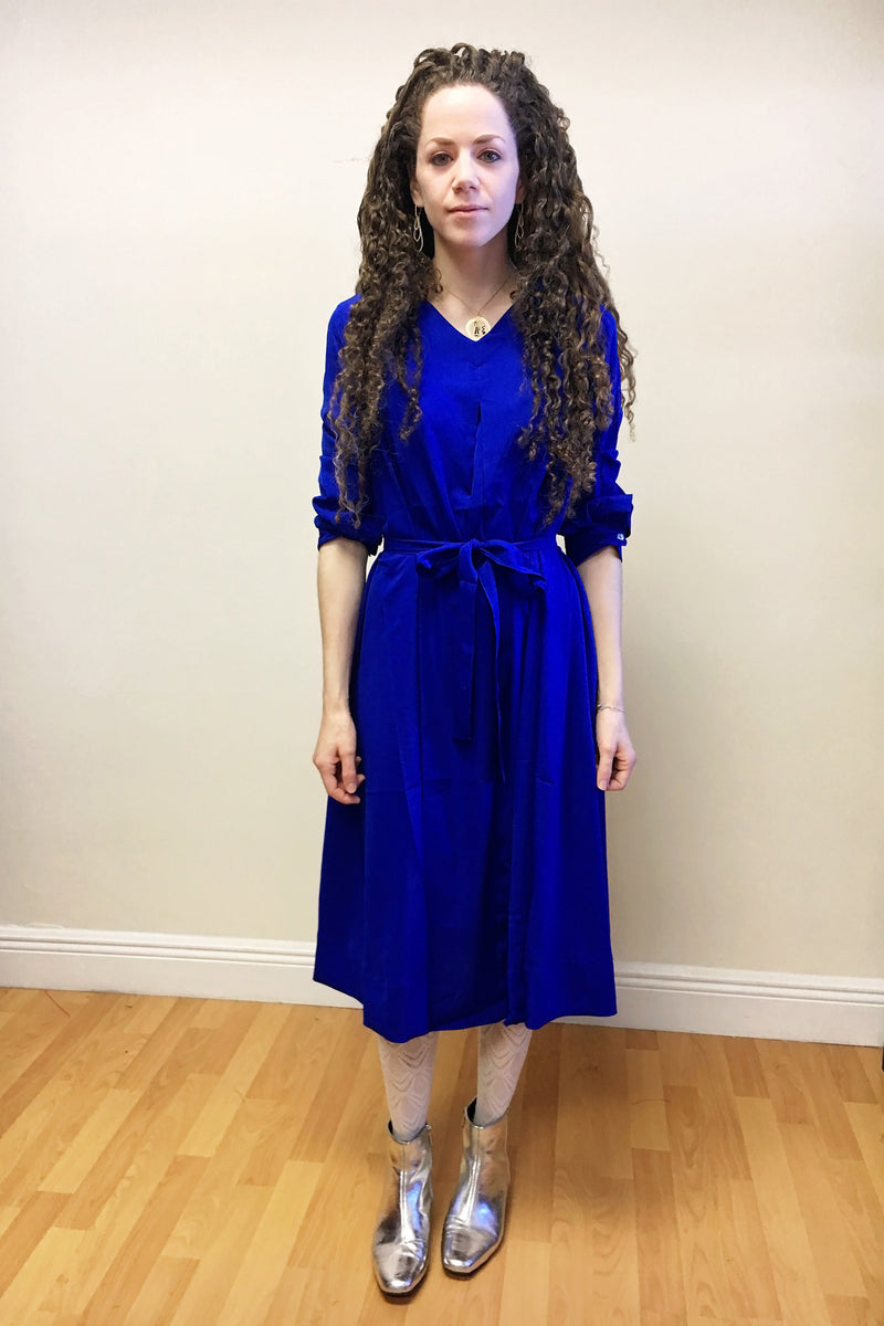 Swing Dress - Cobalt Crepe - PROJECT 6, modest fashion