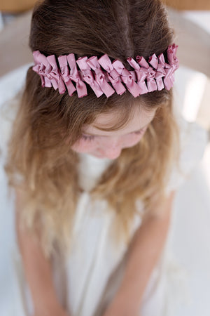 Satin Tied Headband - Rose