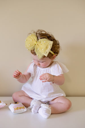 Tulle Pearl Clip/Wrap - Yellow