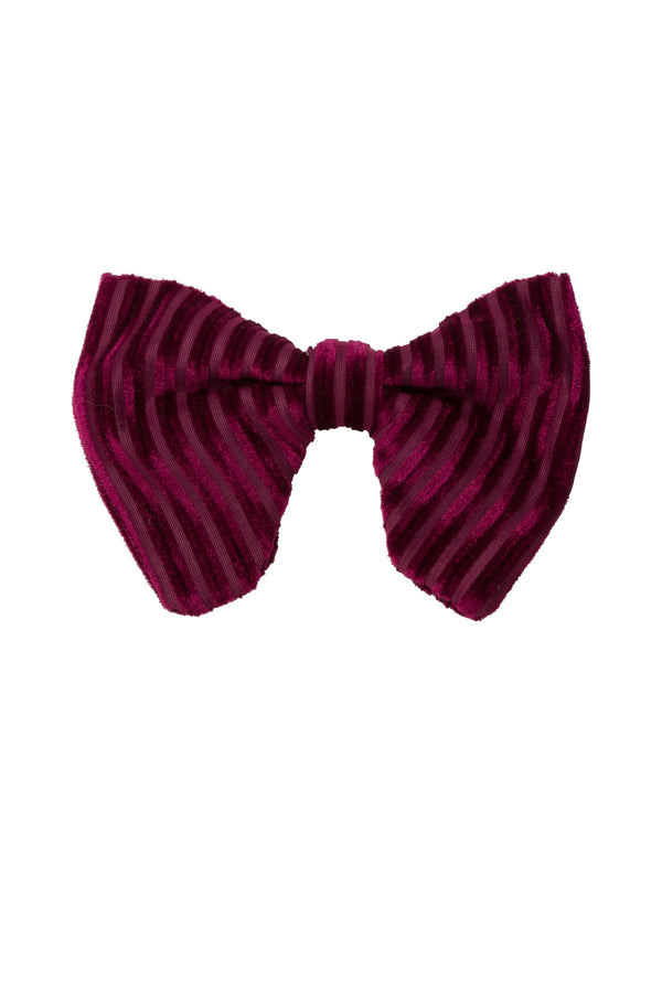 Beauty & The Beast Bowtie/Hair Clip - Burgundy Velvet Stripe - PROJECT 6, modest fashion