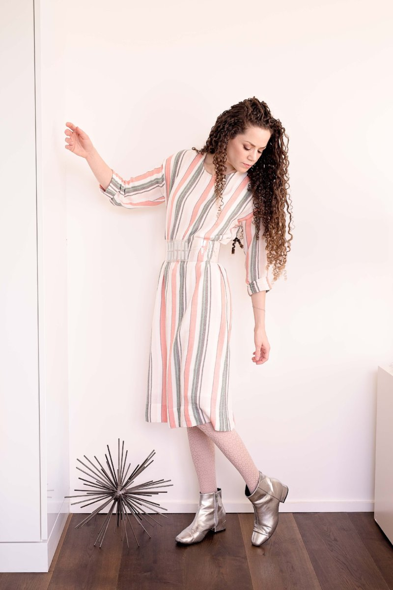 DALES - Mint/Blush/Grey/Ivory Stripe Rayon - PROJECT 6, modest fashion