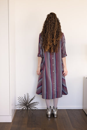 Swing Dress - Navy/Red Stripes - PROJECT 6, modest fashion