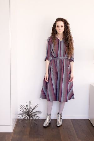 Swing Dress - Navy/Red Stripes