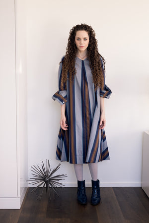 Swing Dress - Navy/Khaki Stripes - PROJECT 6, modest fashion