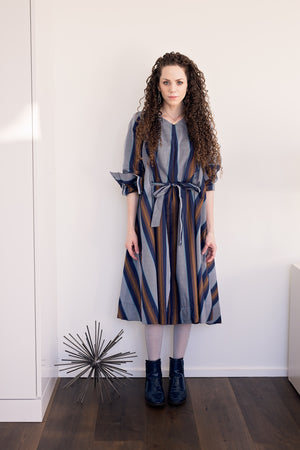 Swing Dress - Navy/Khaki Stripes