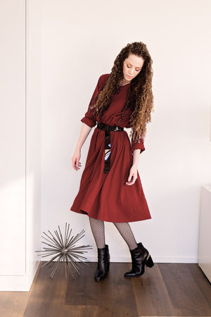Swing Dress - Burgundy Crepe