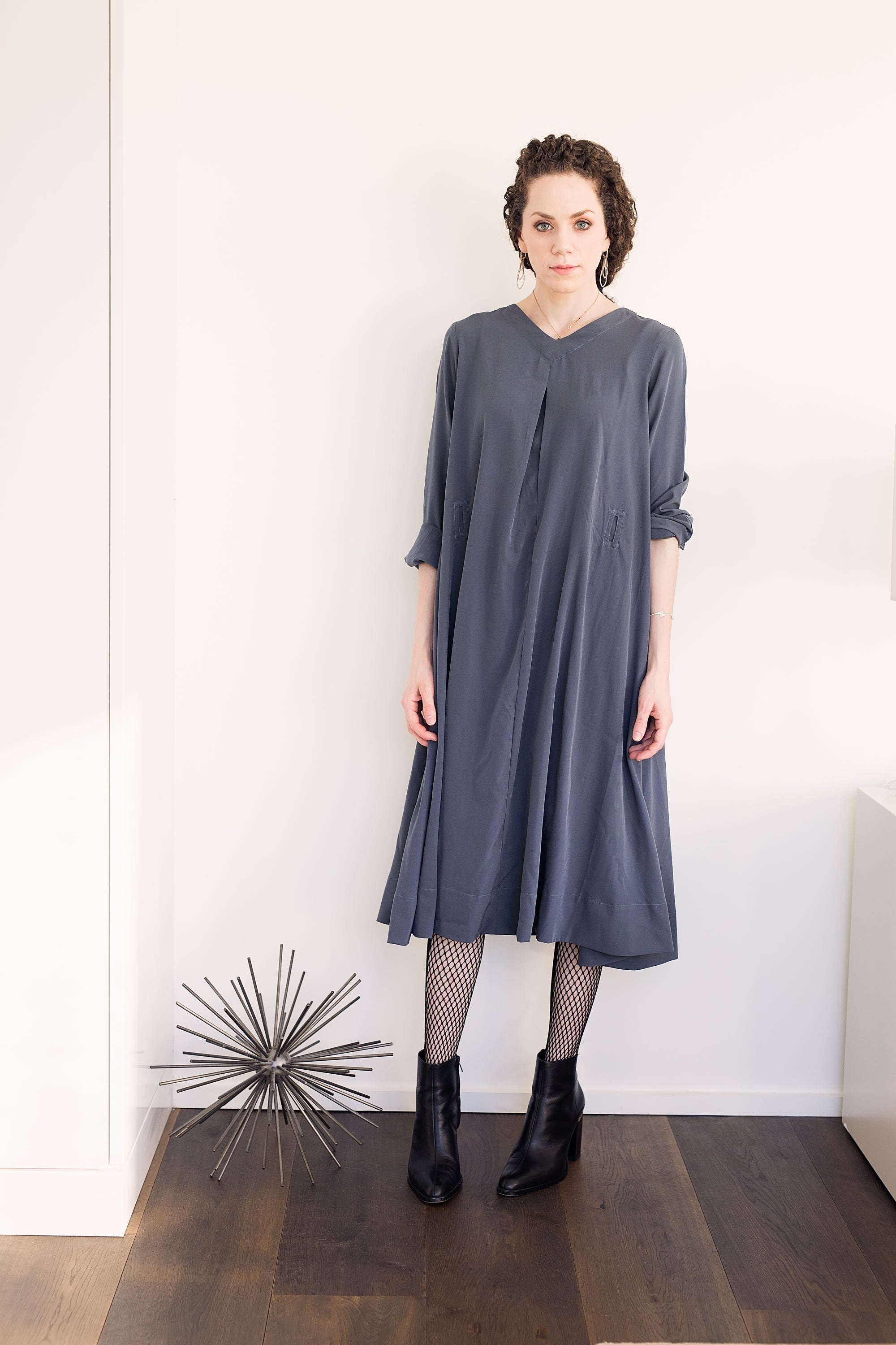 Swing Dress - Charcoal Crepe - PROJECT 6, modest fashion