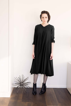 Swing Dress - Black Crepe