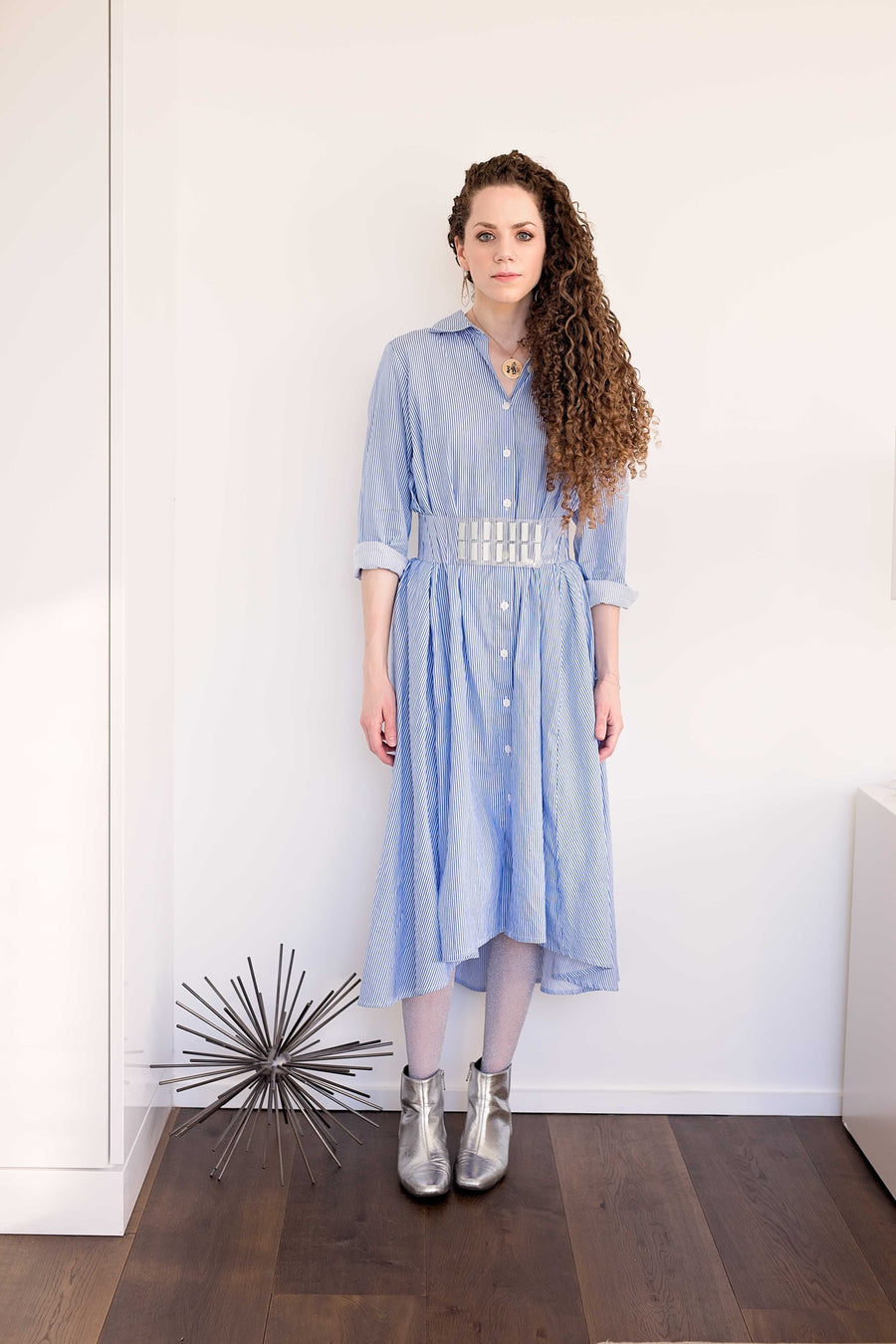 Maaya Medium - Blue Pinstripe