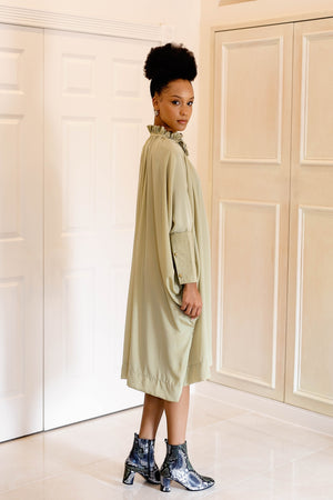 Sache Dress - Antique Green Crepe