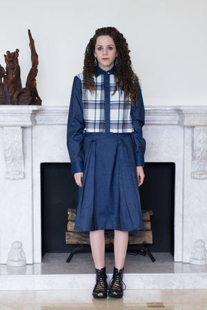 Rika - Blue Plaid Cape/Denim Sleeves - PROJECT 6, modest fashion