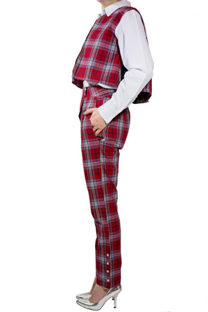 Kiku Pants - Red Checked Print - PROJECT 6, modest fashion