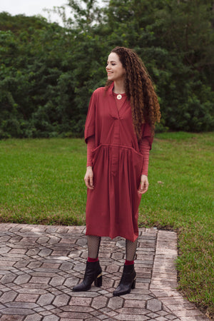 Oka Crepe - Cranberry - PROJECT 6, modest fashion