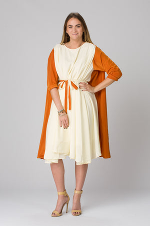 Shunka - Rust/Ivory Crepe - PROJECT 6, modest fashion