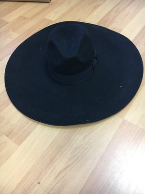 Black extra wide brim with black ribbon - PROJECT 6, modest fashion
