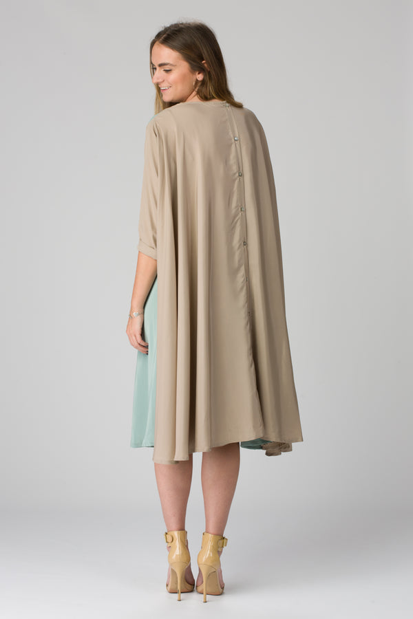 Shunka - Khaki/Seafoam Crepe - PROJECT 6, modest fashion