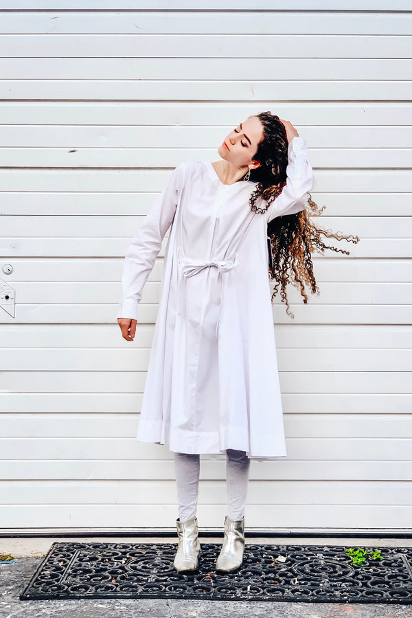 Swing Dress - White Poplin - PROJECT 6, modest fashion