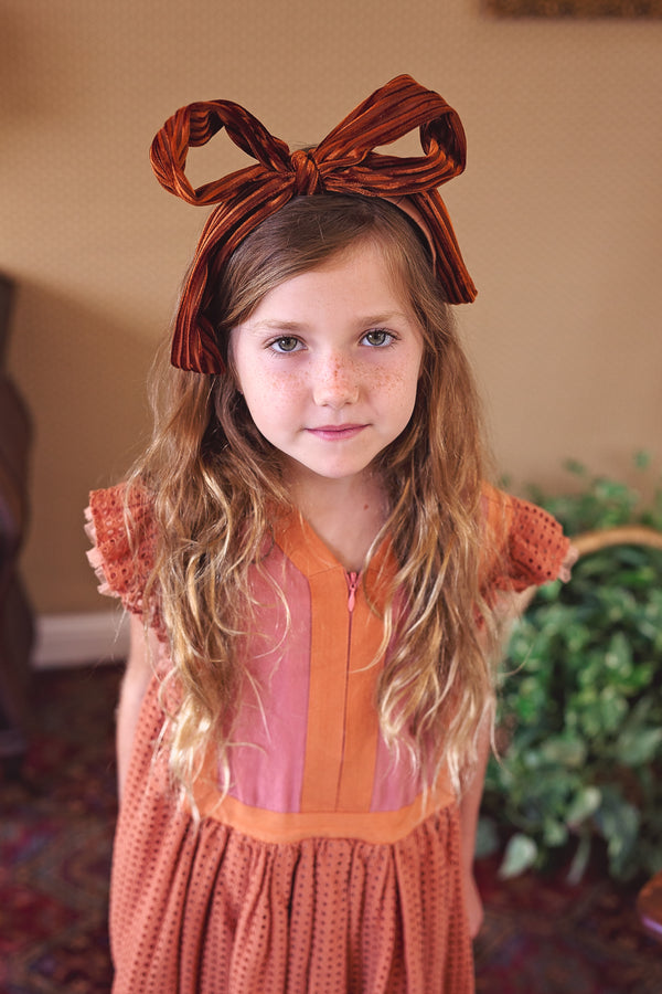 Party Bow Headband - Rust Velvet Stripe - PROJECT 6, modest fashion
