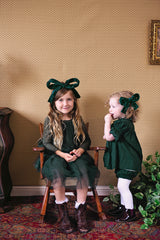 Party Bow Headband - Hunter Green Velvet Stripe - PROJECT 6, modest fashion