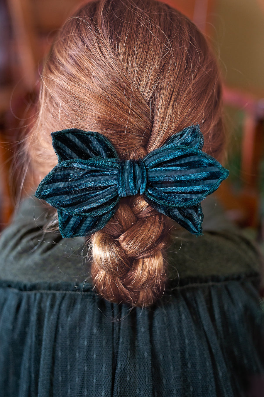 Growing Orchid Clip - Navy Velvet Stripe
