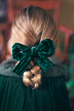Party Bow Clip - Charcoal Velvet Stripe - PROJECT 6, modest fashion
