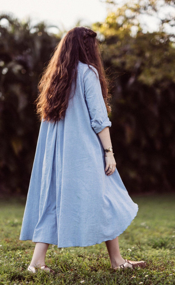 Maaya Long Length - Chambray - PROJECT 6, modest fashion