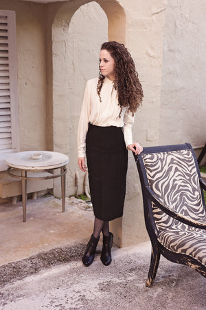 Shira Skirt- Black Seude - PROJECT 6, modest fashion