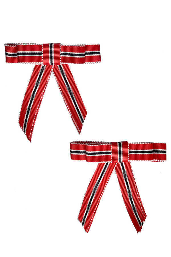Grosgrain Bow Clip Set (2) - School Girl Red - PROJECT 6, modest fashion