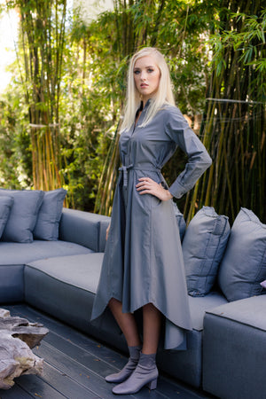 Maaya Long - Charcoal Grey Poplin - PROJECT 6, modest fashion