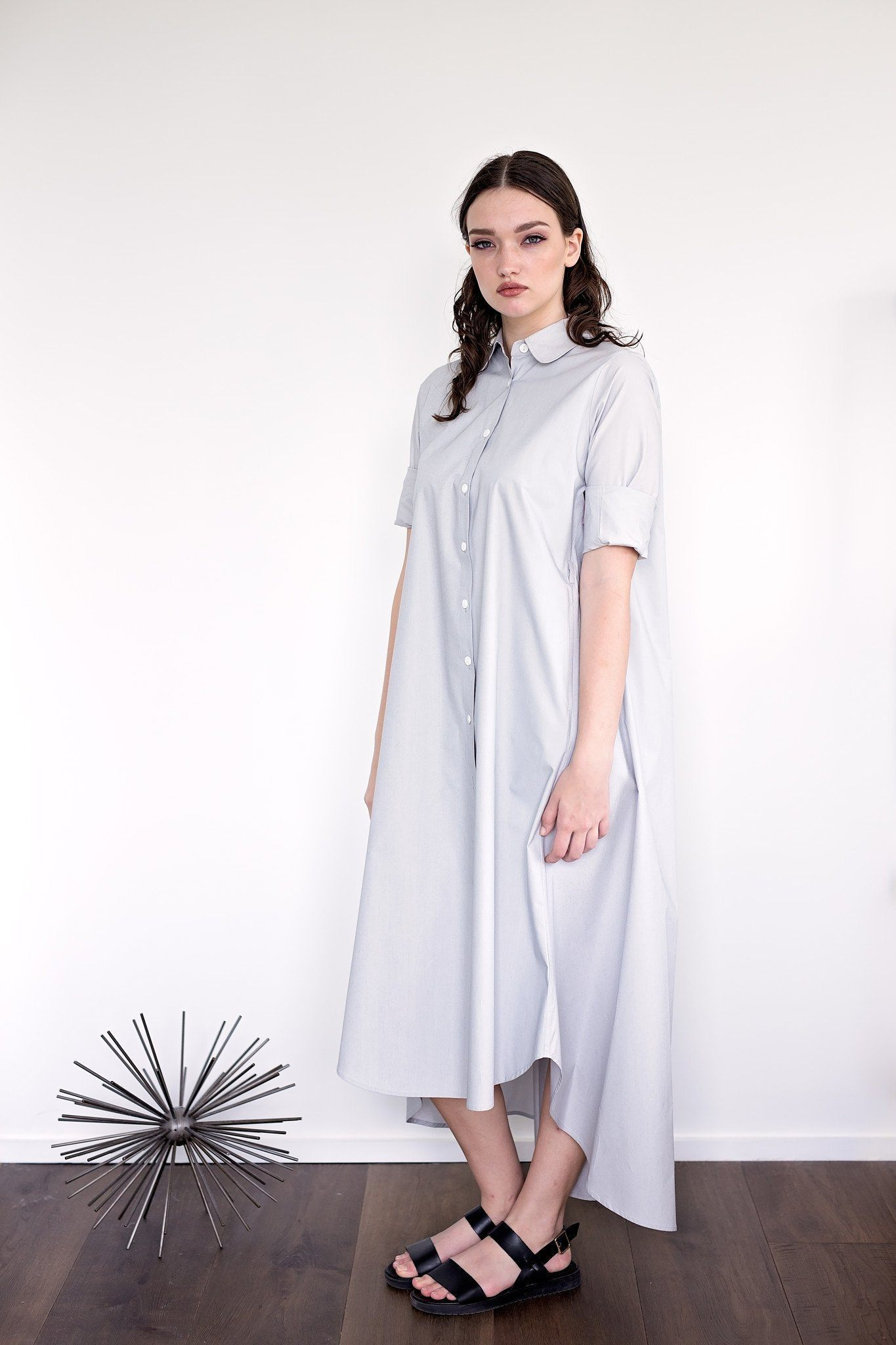 Maaya Long Length - Light Grey Poplin - PROJECT 6, modest fashion