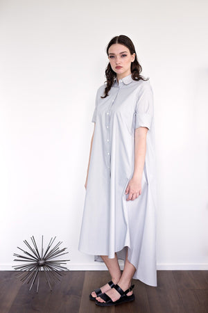 Maaya Long - Light Grey Poplin - PROJECT 6, modest fashion
