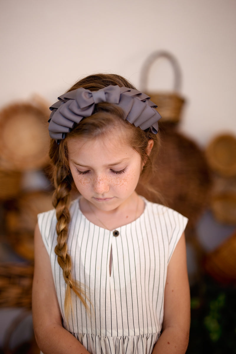 Pleated Ribbon Grosgrain Headband - Navy - PROJECT 6, modest fashion