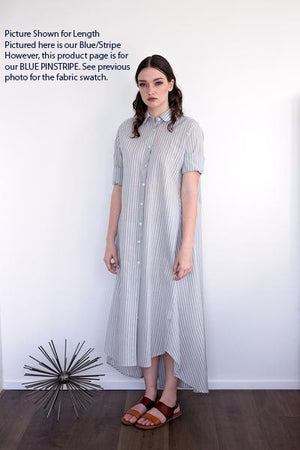Maaya Long - Blue Pinstripe - PROJECT 6, modest fashion