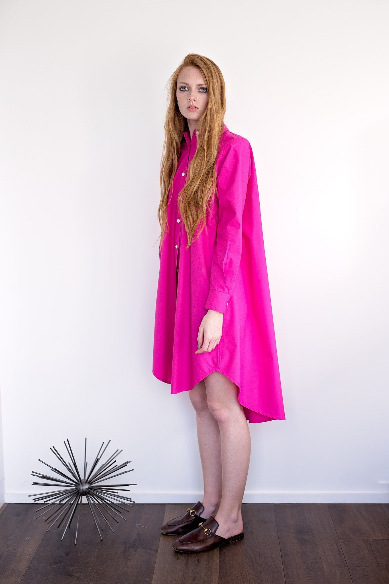 Maaya Short Length - Hot Pink Poplin - PROJECT 6, modest fashion