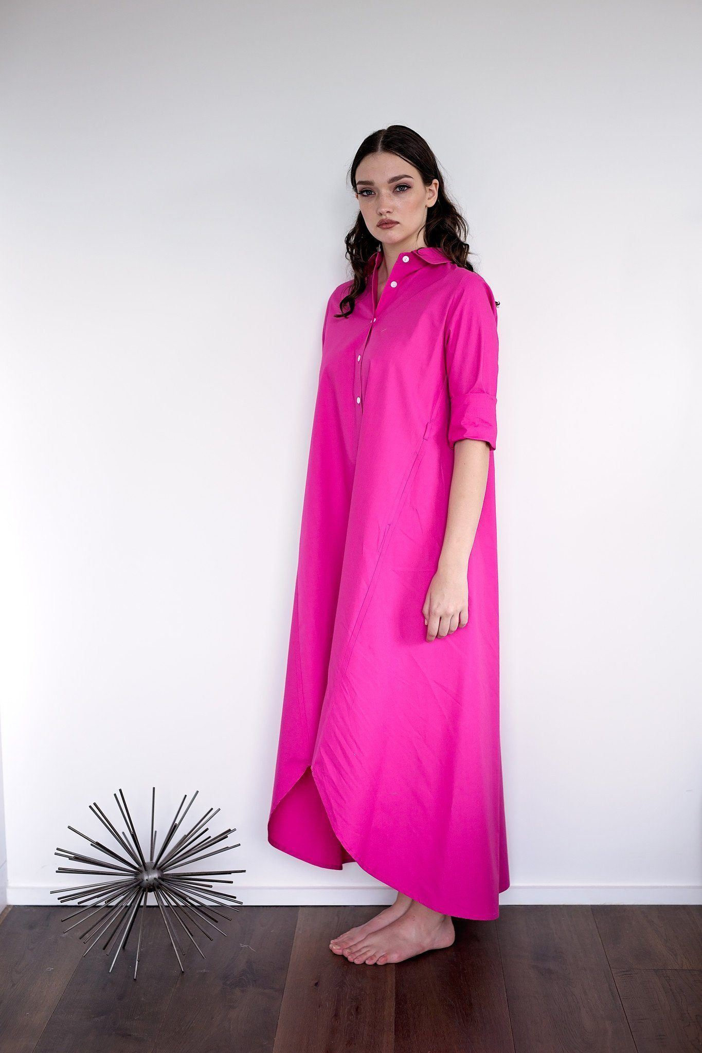 Maaya Long Length - Hot Pink Poplin - PROJECT 6, modest fashion