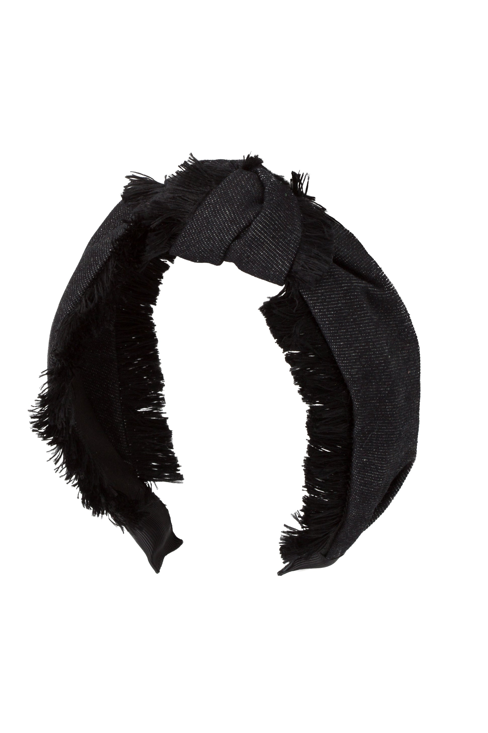 Knot Fringe Headband - Black Denim - PROJECT 6, modest fashion