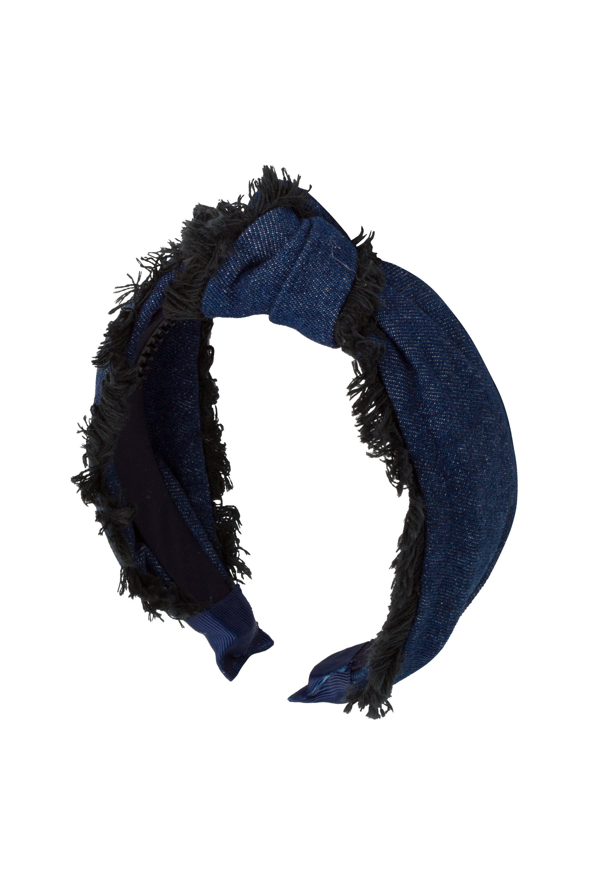 Knot Fringe Headband - Dark Blue Denim - PROJECT 6, modest fashion