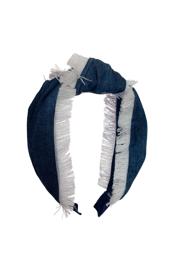 Knot Fringe Headband - Invisible Tie Dye Denim - PROJECT 6, modest fashion
