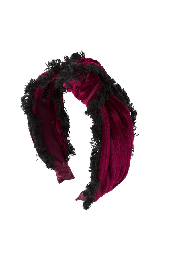Knot Fringe Headband - Burgundy - PROJECT 6, modest fashion