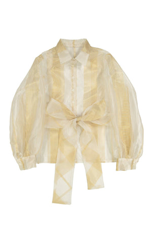 ORLOV - White/Gold Stripe Organza - PROJECT 6, modest fashion