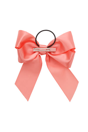 Oversized Bow Pony/Clip - Coral