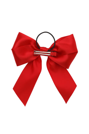 Oversized Bow Pony/Clip - Red