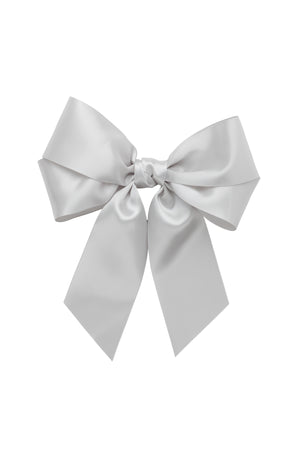 Oversized Bow Pony/Clip - Shell Grey